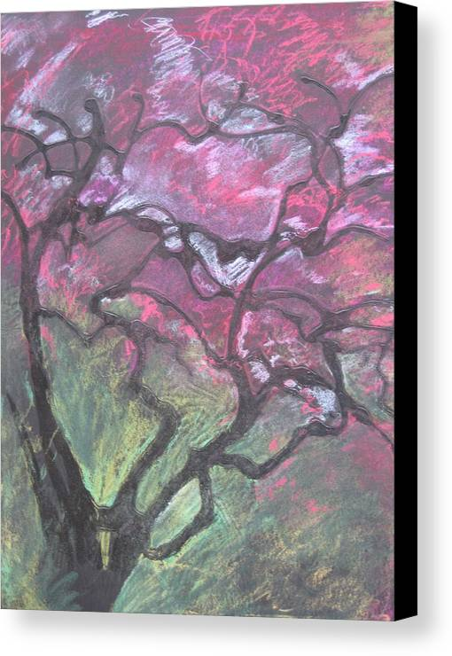 Pastel Canvas Print featuring the drawing Twisted Cherry by Leah Tomaino