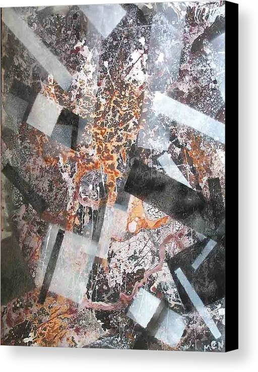 Abstract Canvas Print featuring the painting Under Construction by Evguenia Men