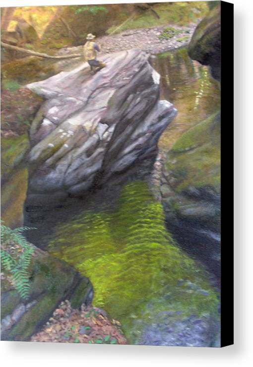 Landscape Canvas Print featuring the painting Vermont Fisherman by Laurel Ellis