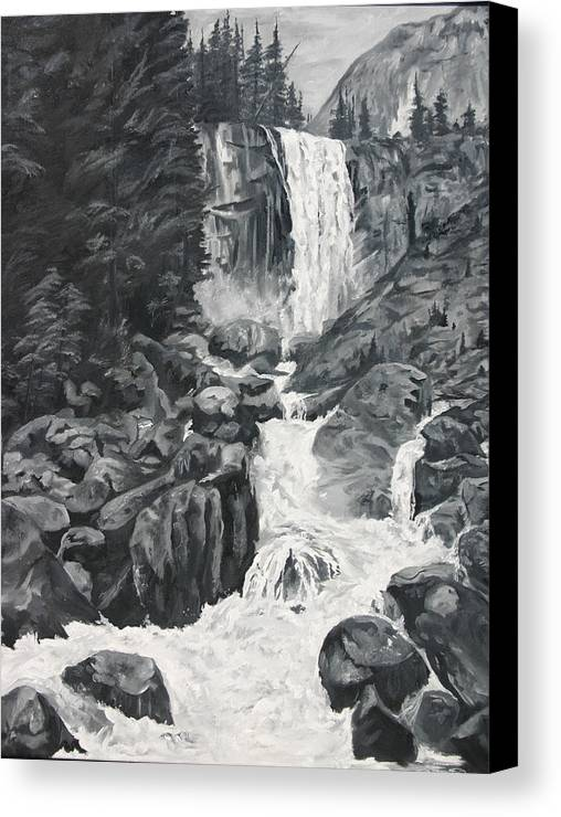 Landscape Canvas Print featuring the painting Vernal Falls Black And White by Travis Day