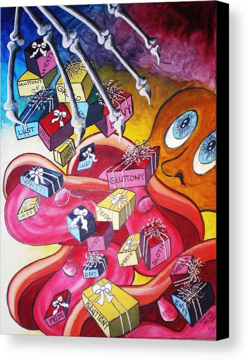 Abstract Canvas Print featuring the painting Vision Of Vices by Tammera Malicki-Wong