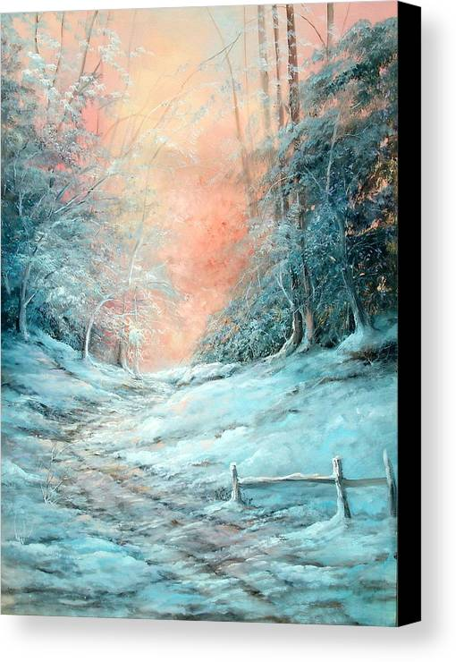Winter Canvas Print featuring the painting Warm Winter Fantasy by Sally Seago