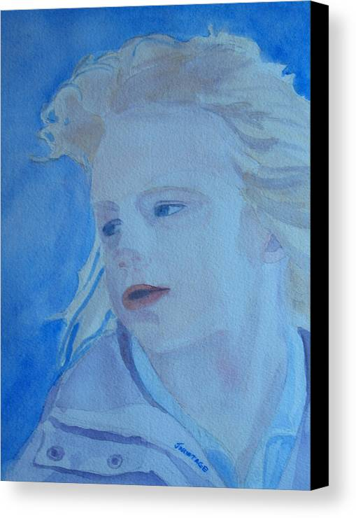 Portrait Portraits Canvas Print featuring the painting Windswept by Jenny Armitage