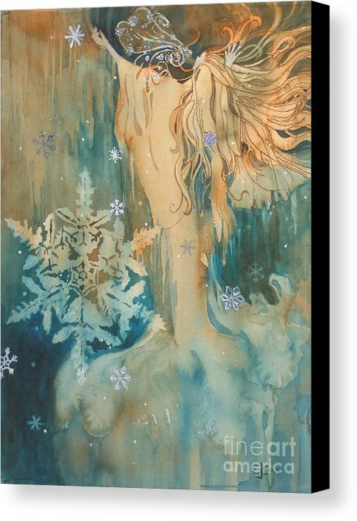 Blue-green Canvas Print featuring the painting Winter by Elizabeth Carr