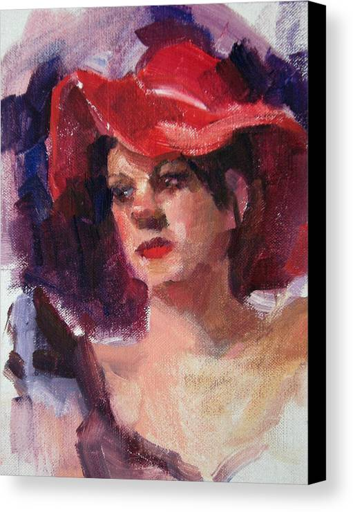 Portrait Canvas Print featuring the painting Woman In A Floppy Red Hat by Merle Keller