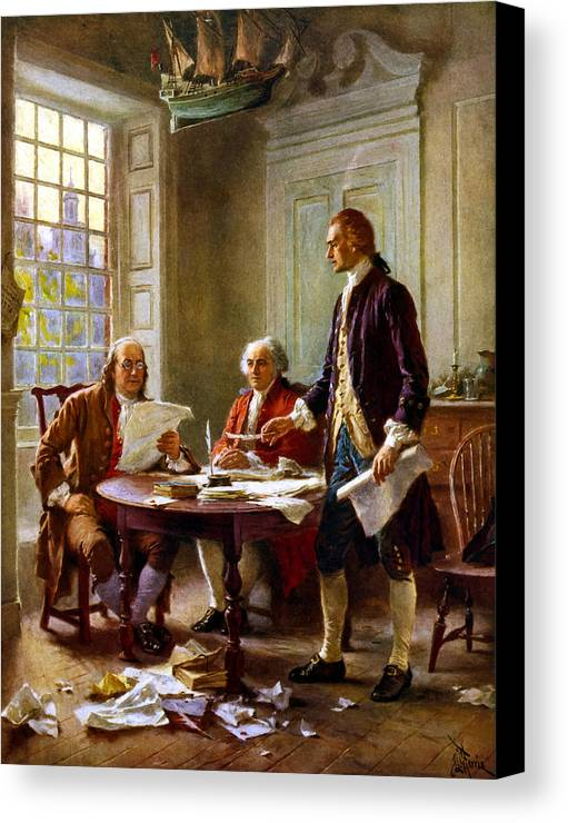 Declaration Of Independence Canvas Print featuring the painting Writing The Declaration Of Independence by War Is Hell Store