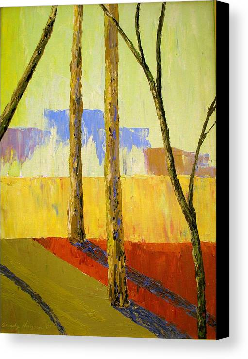 India Canvas Print featuring the painting Yellow Trees by Art Nomad Sandra Hansen