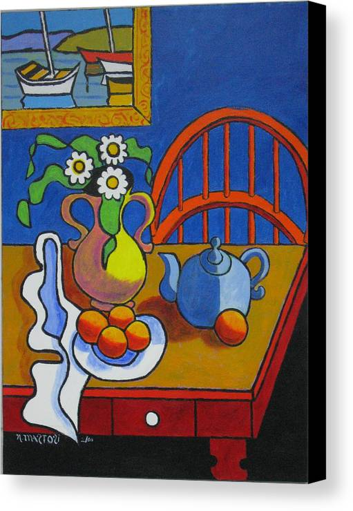 Teapot Canvas Print featuring the painting Yellow Vase With Blue Teapot by Nicholas Martori
