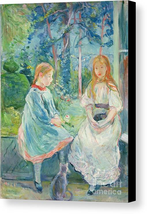 Young Canvas Print featuring the painting Young Girls At The Window by Berthe Morisot