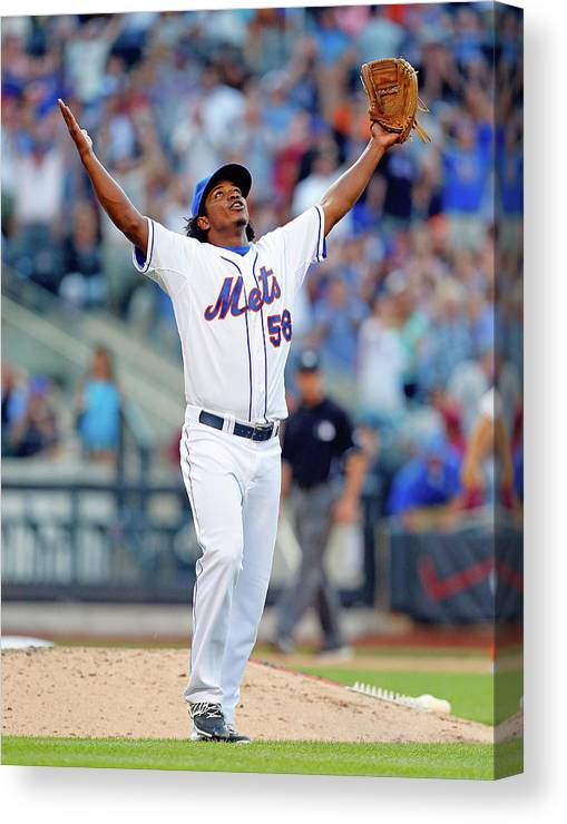 Celebration Canvas Print featuring the photograph Miami Marlins V New York Mets by Jim Mcisaac