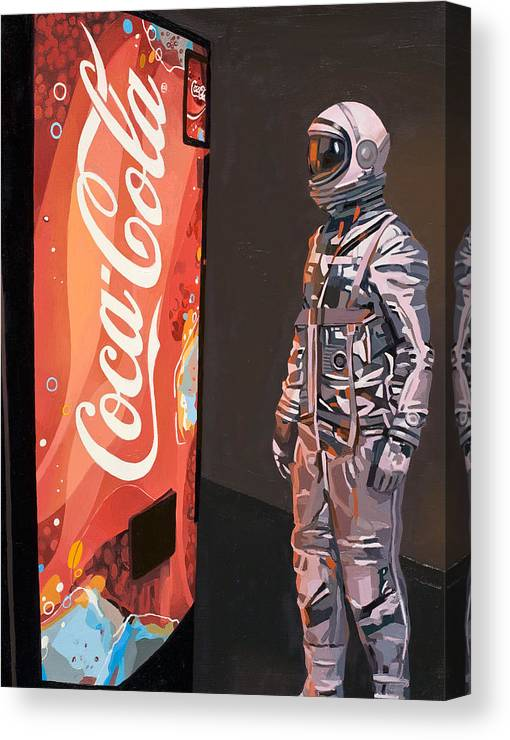 Astronaut Canvas Print featuring the painting The Coke Machine by Scott Listfield