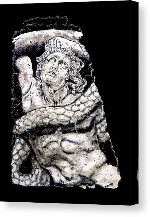 Mythology Canvas Print featuring the painting Alkyoneus by Steve Bogdanoff