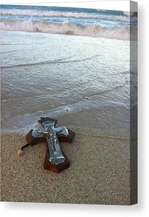 Crucifix Canvas Print featuring the photograph Blessing In The Sand by Anthony Trillo