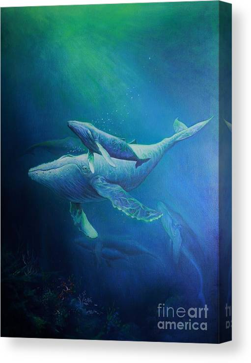 Humpback Whales Canvas Print featuring the painting Deep Blue Sea by Martin Lacasse