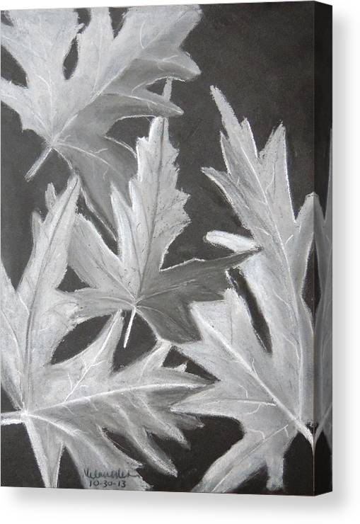 Pastel Canvas Print featuring the drawing Fall Leaves by Melanie Weber