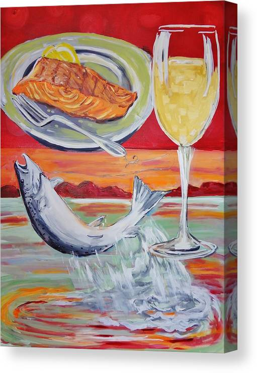 Salmon Canvas Print featuring the painting Fresh Salmon Dinner by Shannon Lee