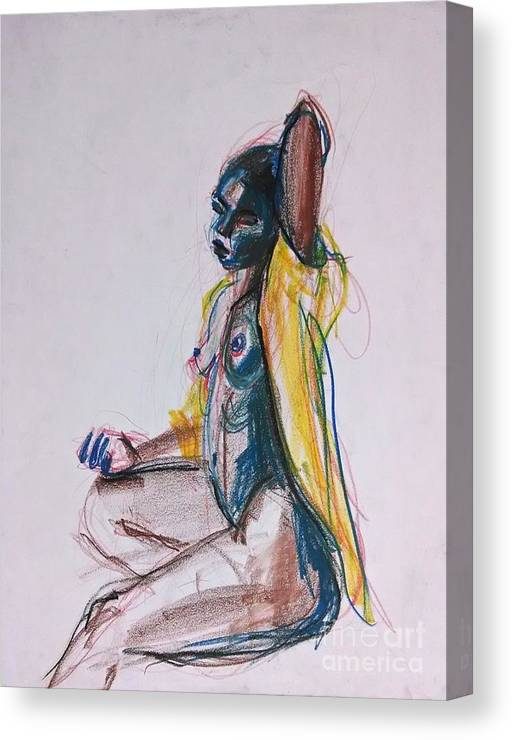 Black Canvas Print featuring the drawing Goddess by Gabrielle Wilson-Sealy