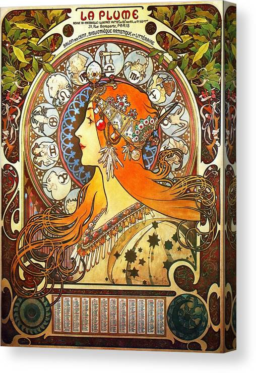 Alphonse Mucha Canvas Print featuring the painting La Plume Zodiac by Alphonse Mucha