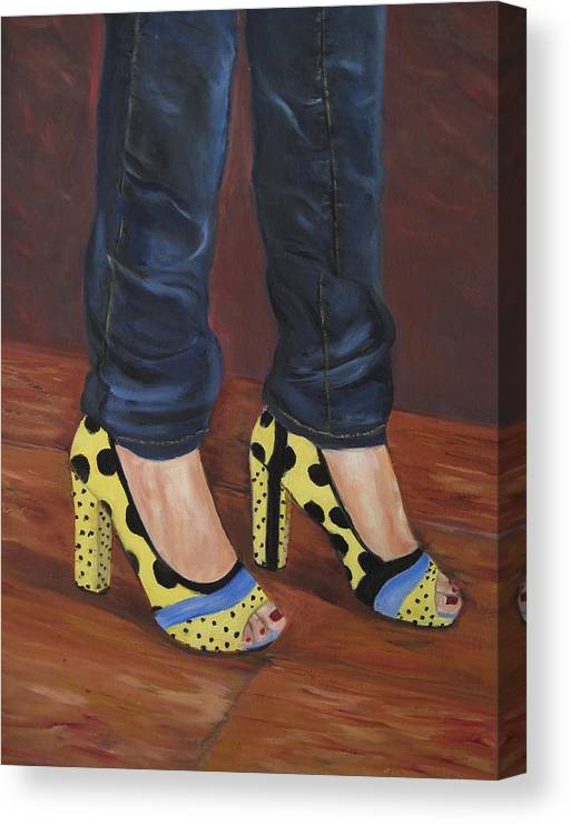 Shoes Canvas Print featuring the painting My Shoes by Roberta Rotunda
