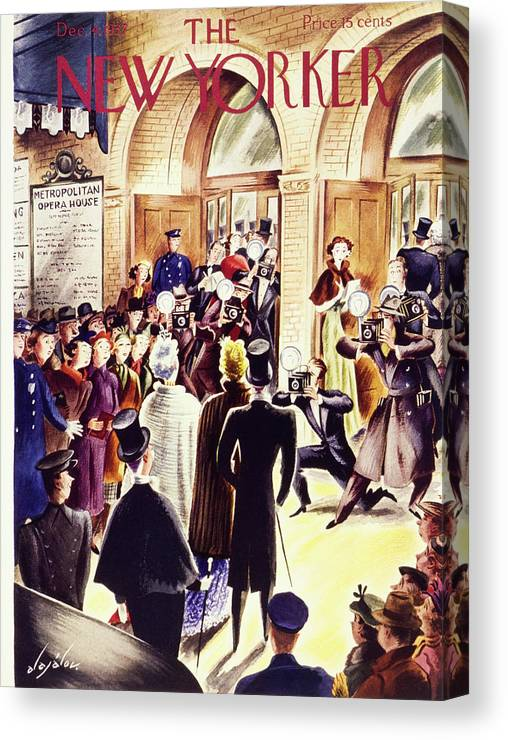 The Old Met Canvas Print featuring the painting New Yorker December 4 1937 by Constantin Alajalov