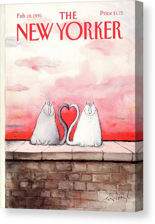 Two Cats Canvas Print featuring the painting New Yorker February 18th, 1991 by Ronald Searle