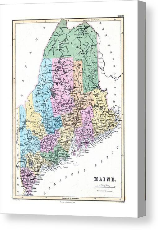 graphic about Printable Map of Maine known as North The united states, Maine, 1856 Canvas Print