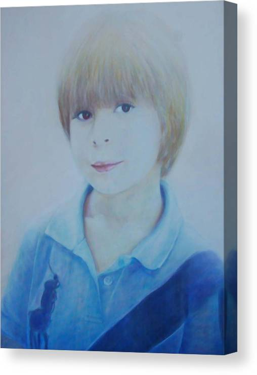 Portrait Of Young Boy Canvas Print featuring the painting Portrait Of A Young Boy by Isabelle Ehly