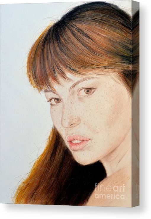 Model Canvas Print featuring the drawing Red Hair And Freckles Iv by Jim Fitzpatrick