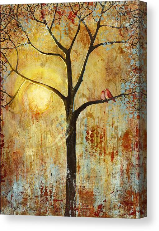 Love Birds Canvas Print featuring the painting Red Love Birds In A Tree by Blenda Studio