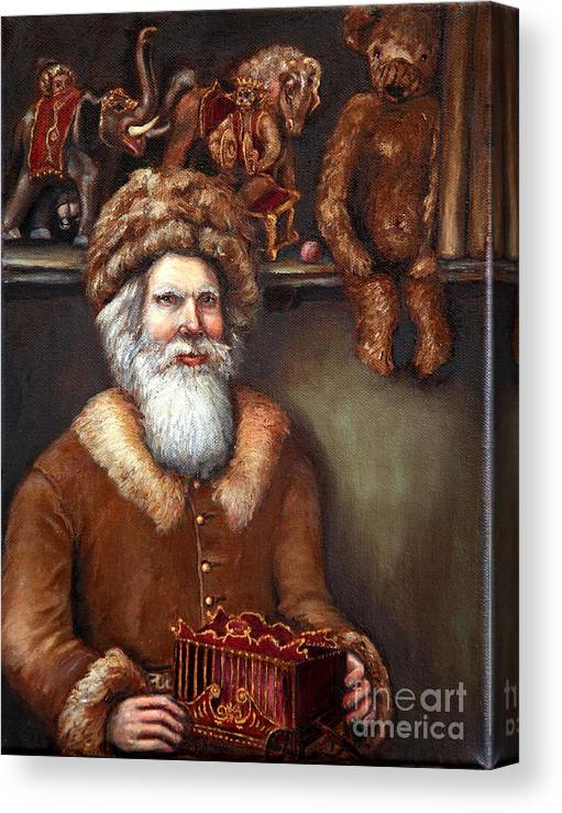 Holiday Art Canvas Print featuring the painting Santas Special Toys by Portraits By NC