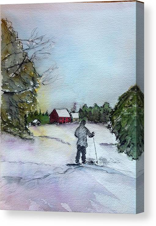 Winter Canvas Print featuring the painting Snowshoeing In Northern Maine by Peggy Bosse
