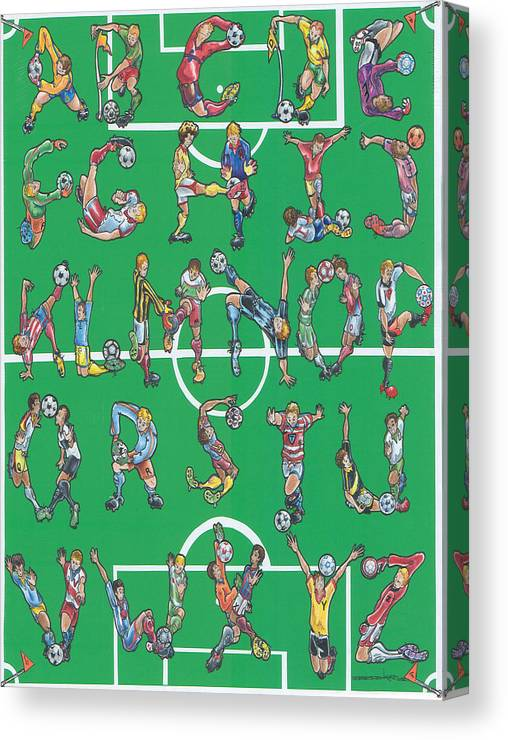 Soccer Canvas Print featuring the drawing Soccer Alphabet by Eric Fronapfel