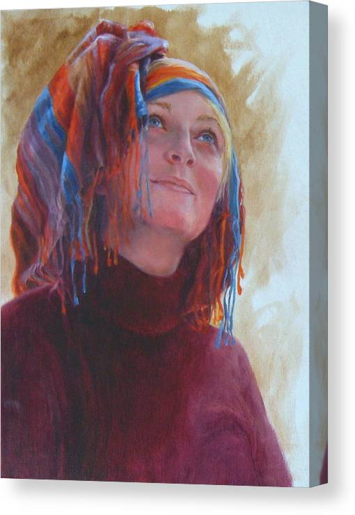 Figurative Canvas Print featuring the painting Turban 1 by Connie Schaertl