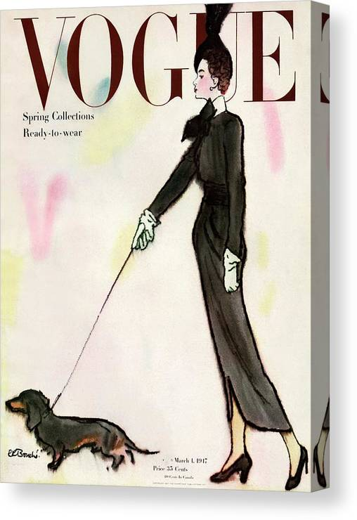 Fashion Canvas Print featuring the photograph Vogue Cover Featuring A Woman Walking A Dog by Rene R. Bouche