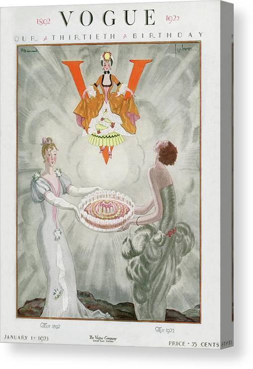 Fashion Canvas Print featuring the digital art Vogue Magazine Cover Featuring Two Women Carrying by Georges Lepape & Pierre Brissaud