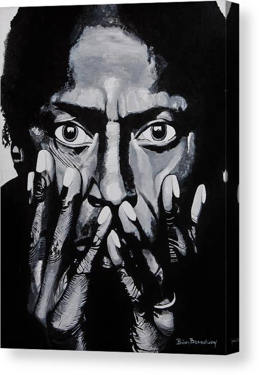 Miles Davis Canvas Print featuring the painting What Would Miles Say by Brian Broadway