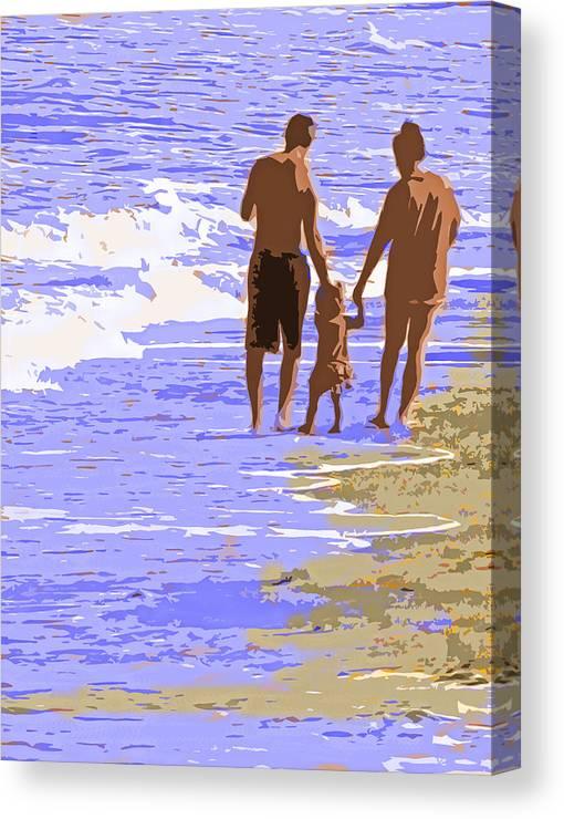 Couple Canvas Print featuring the photograph Beachwalk by Ian MacDonald