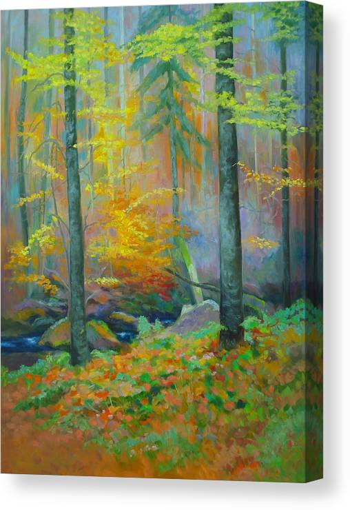 Forest Canvas Print featuring the painting Black Forest Stream by Dai Wynn