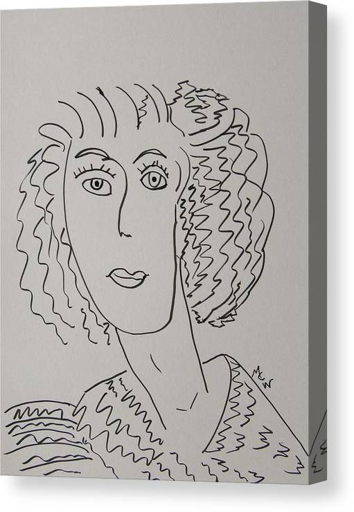 Woman Canvas Print featuring the drawing Direct Woman by Mary Carol Williams