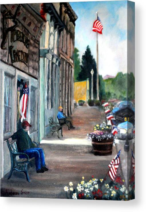 Flags: Small Town; Lake City Canvas Print featuring the painting Independence Day by Rebecca Grice