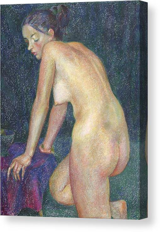 Nude Canvas Print featuring the painting Nu 23 by Leonid Petrushin