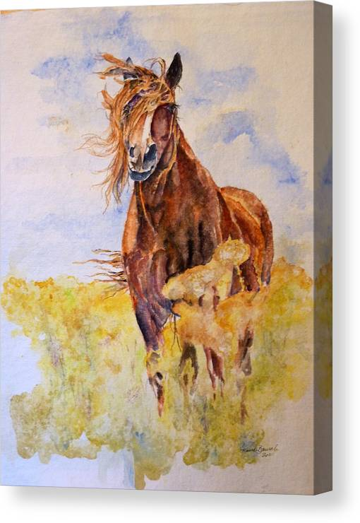 Horse Canvas Print featuring the painting Smell'in The Flowers by P Maure Bausch