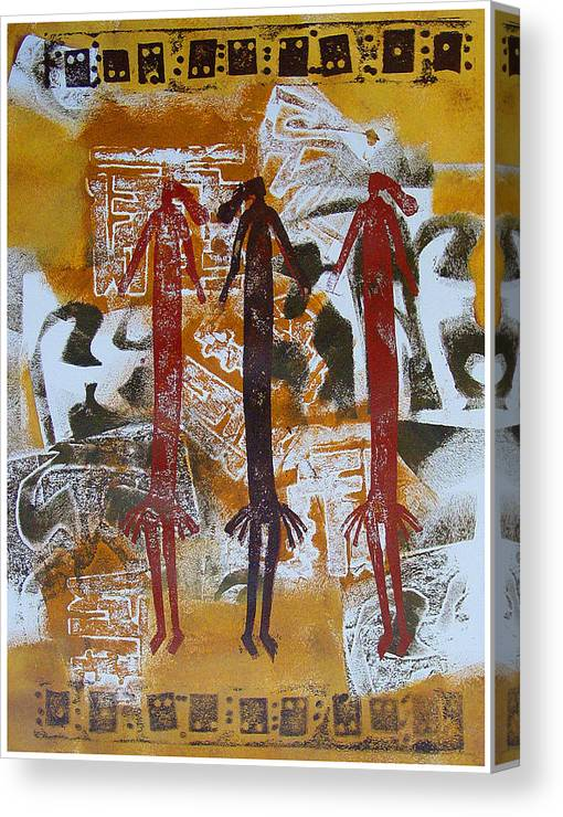 Female Figures Canvas Print featuring the painting Three Sisters by Dale Witherow