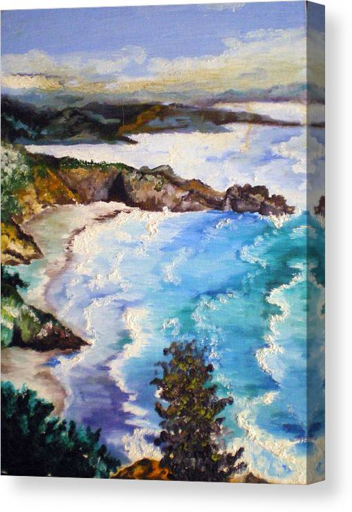 California Canvas Print featuring the painting California Coastline by Tammera Malicki-Wong