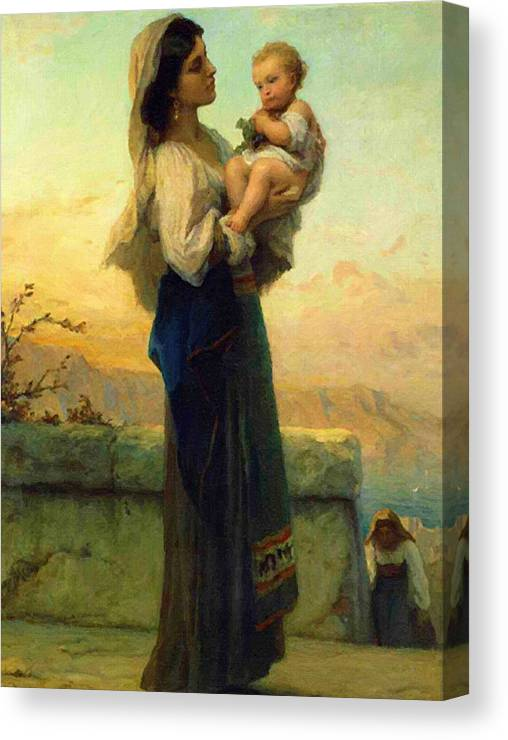 Virgin And Child Canvas Print featuring the digital art Mary And Child by Carol Jackson