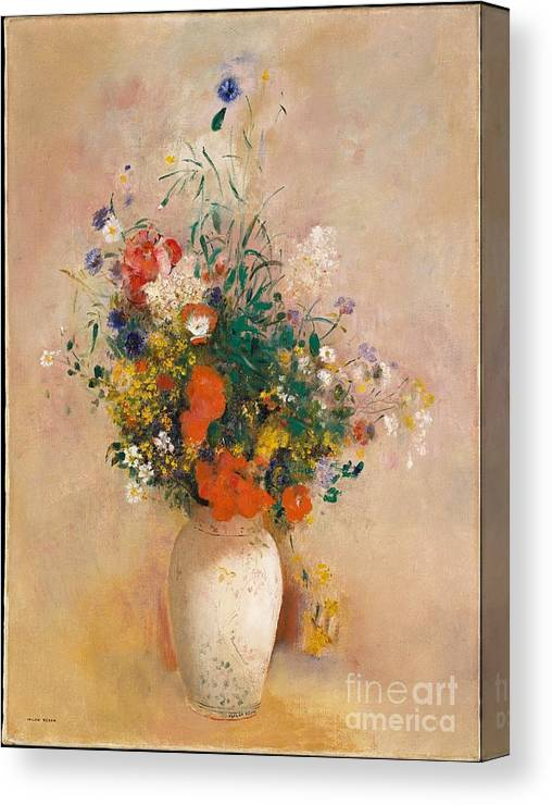 Vase Of Flowers (pink Background) Canvas Print featuring the painting Vase Of Flowers by Celestial Images