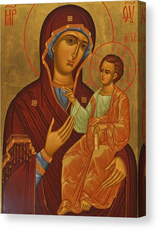Virgin And Child Canvas Print featuring the digital art Madonna Enthroned by Carol Jackson