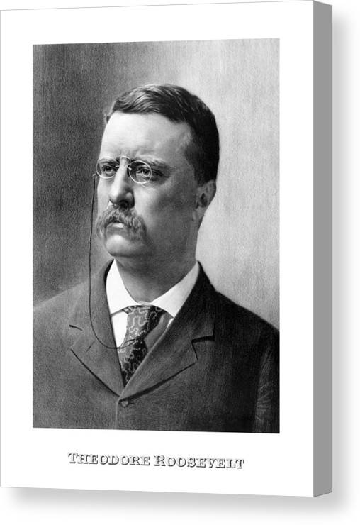 Teddy Roosevelt Canvas Print featuring the mixed media President Theodore Roosevelt by War Is Hell Store