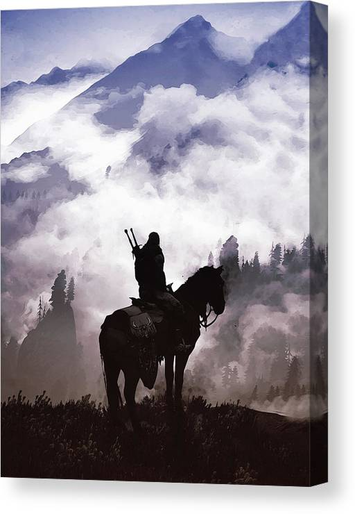 Geralt Canvas Print featuring the painting A Lifetime Of Adventure by Andrea Mazzocchetti