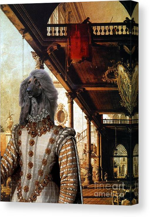 Afghan Hound Canvas Canvas Print featuring the painting Afghan Hound-capriccio Of Colonade And The Courtyard Of A Palace Canvas Fine Art Print by Sandra Sij